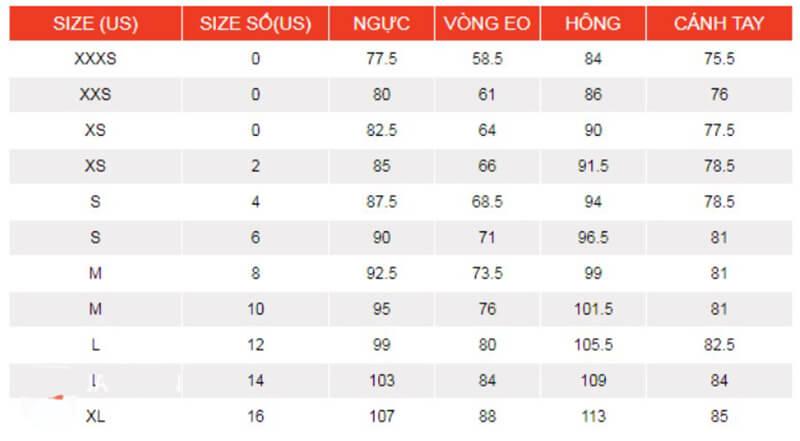 Cách Chọn Size Áo Khoác Nữ Theo Cỡ Châu Âu