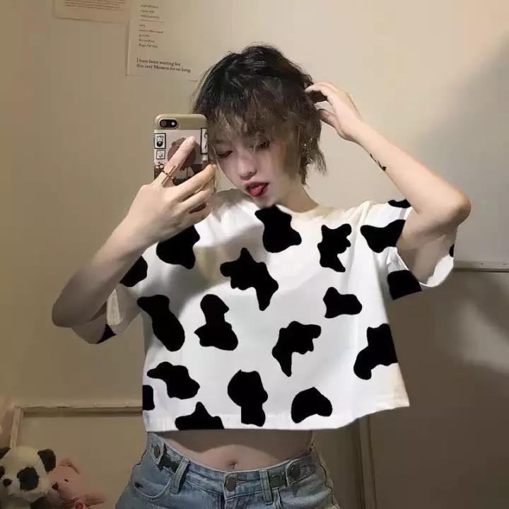 Áo Thun Croptop Bò Sữa