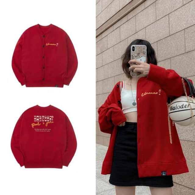Áo Jacket Nỉ Đỏ