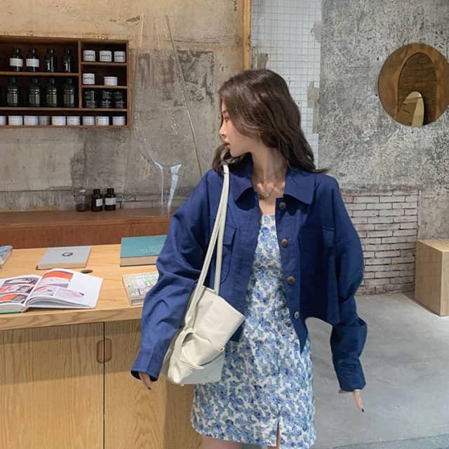 Áo Jacket Nữ Dáng Sơ Mi Cổ Đứng