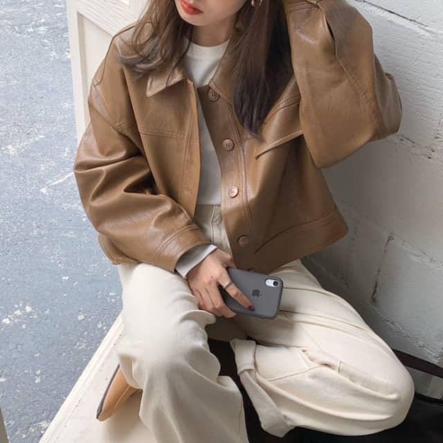 Áo Jacket Da Phong Cách Hàn Quốc