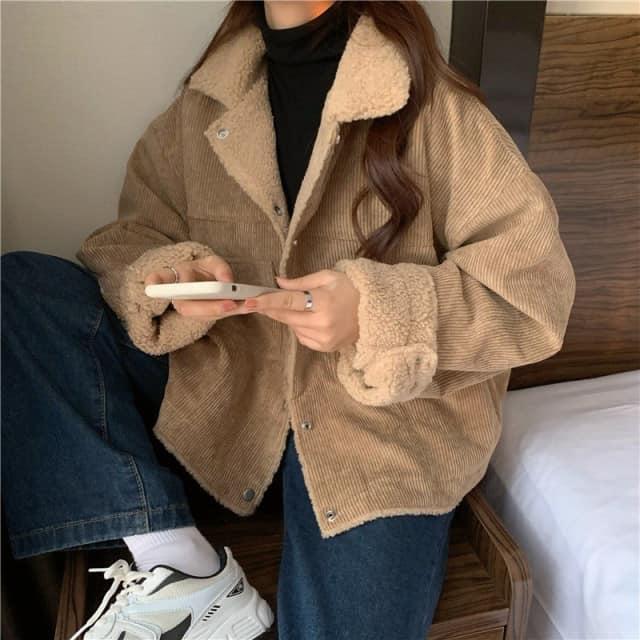 Áo Jacket Nữ Nhung Khuy Bấm Trần Bông