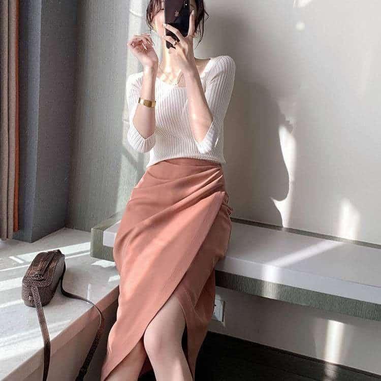 Chân Váy Tulip Lưng Cao Xếp Ly