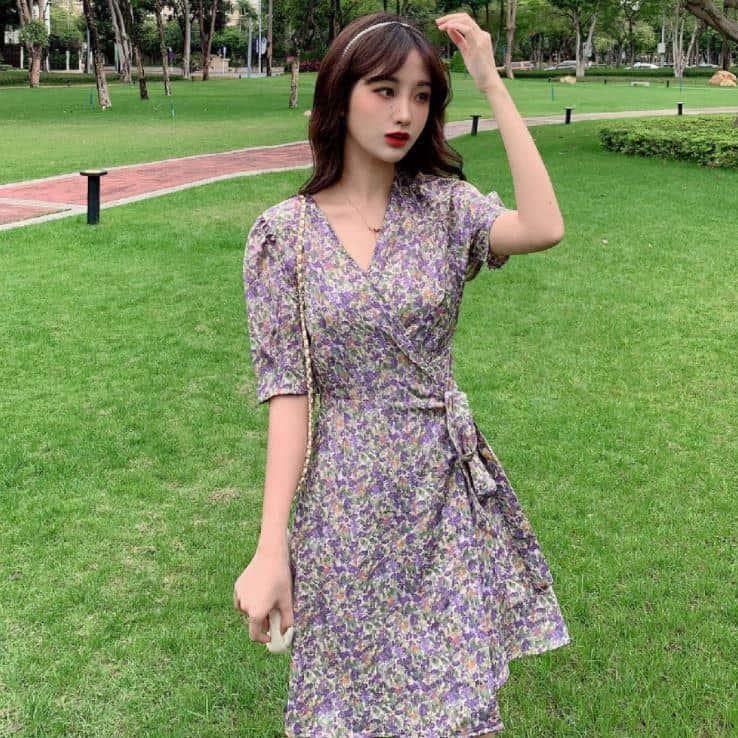 Váy Quấn Hoa Cổ V Thắt Nơ