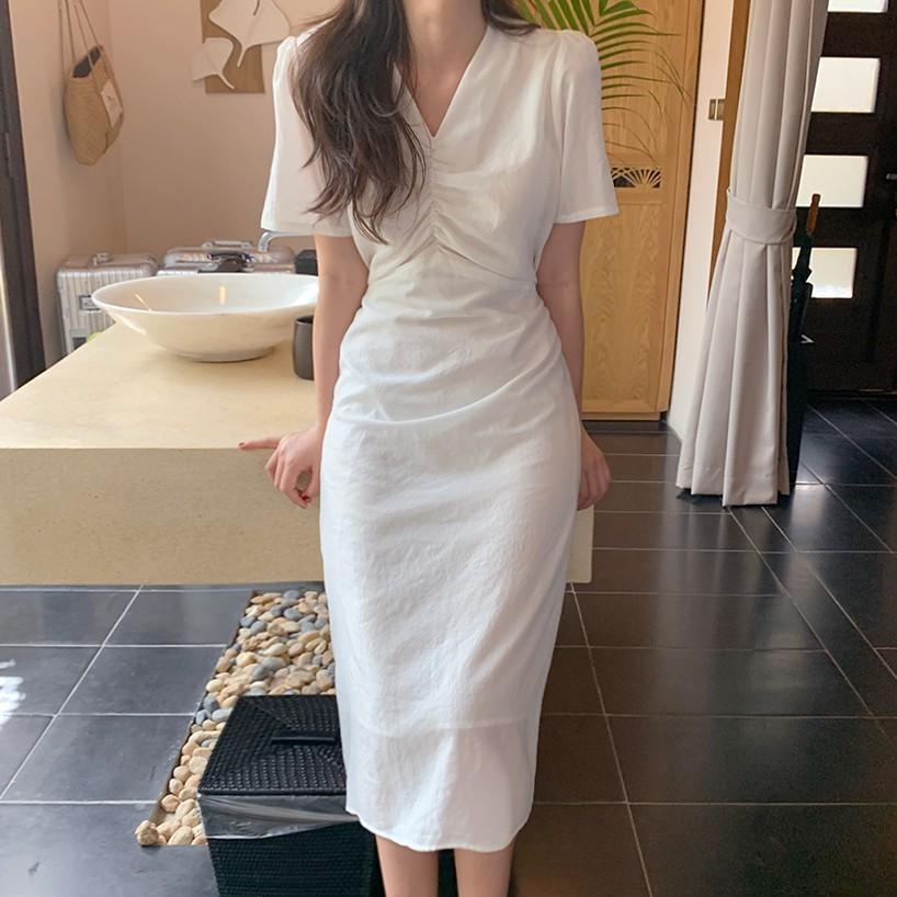 Đầm Midi Tay Ngắn Cổ V Nhún Ngực